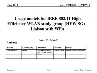 Usage models for IEEE 802.11 High Efficiency WLAN study group (HEW SG) – Liaison with WFA