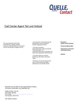 Call Center Agent Teil und Vollzeit