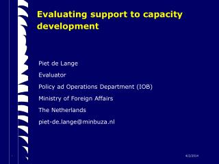 Evaluating support to capacity development