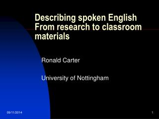 Describing spoken English From research to classroom materials