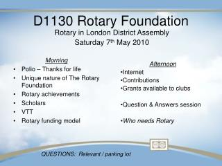 D1130 Rotary Foundation