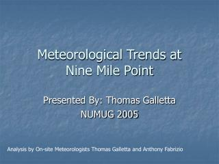 Meteorological Trends at  Nine Mile Point