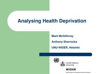 Analysing Health Deprivation