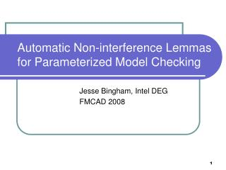 Automatic Non-interference Lemmas for Parameterized Model Checking