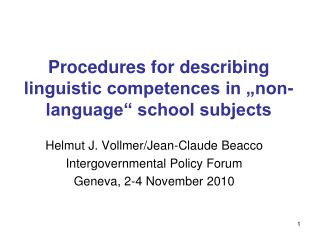Procedures for describing linguistic competences in  non-language  school subjects