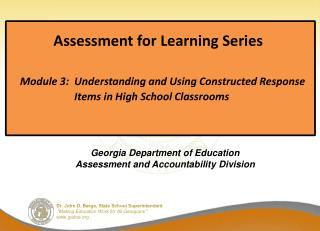 Georgia Department of Education Assessment and Accountability Division