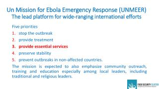 Five priorities stop  the  outbreak provide treatment provide essential services