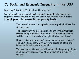 7. Social and Economic Inequality in the USA