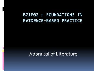 B71P02   Foundations in Evidence-Based Practice