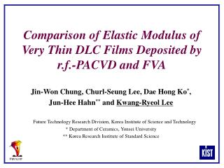 Comparison of Elastic Modulus of Very Thin DLC Films Deposited by r.f.-PACVD and FVA