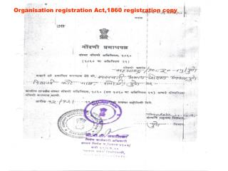 Organisation registration Act,1860 registration copy
