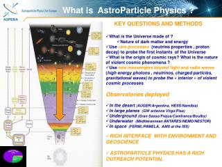 What is  AstroParticle Physics ?