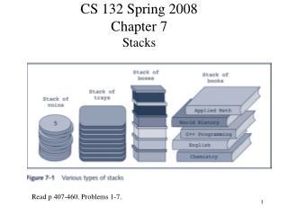 CS 132 Spring 2008 Chapter 7 Stacks
