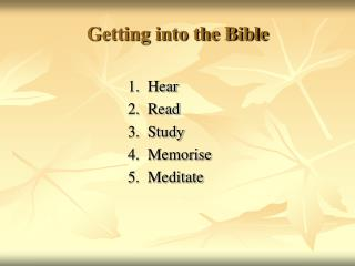 Getting into the Bible
