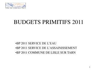 BUDGETS PRIMITIFS 2011