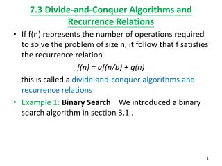 7.3 Divide-and-Conquer Algorithms and Recurrence Relations