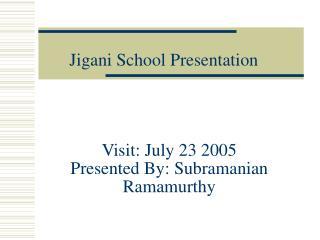 Visit: July 23 2005 Presented By: Subramanian Ramamurthy