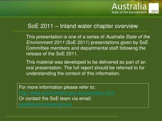 SoE 2011 � Inland water chapter overview