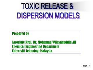 TOXIC RELEASE   DISPERSION MODELS