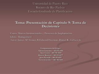 Universidad de Puerto Rico Recinto de Río Piedras Escuela Graduada de Planificación