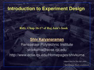 Introduction to Experiment Design