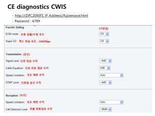 CE diagnostics CWIS