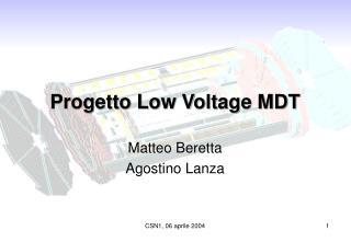 Progetto Low Voltage MDT