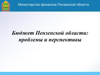Бюджет Пензенской области:  проблемы и перспективы