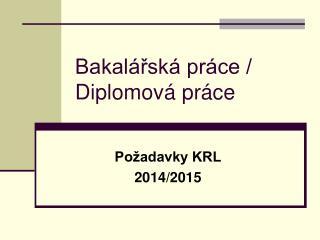 Bakalářská práce / Diplomová práce