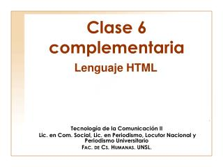 Clase 6 complementaria