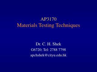 AP3170 Materials Testing Techniques