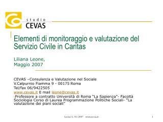 Elementi di monitoraggio e valutazione del Servizio Civile in Caritas Liliana Leone,  Maggio 2007