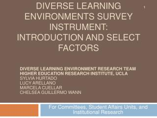 Diverse learning environments Survey instrument: Introduction and Select factors
