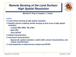 Remote Sensing of the Land Surface: High Spatial Resolution