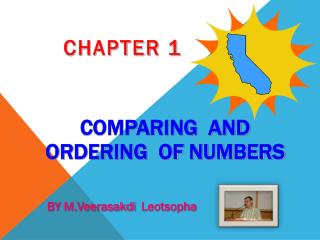COMPARING  AND  ORDERING  OF NUMBERS