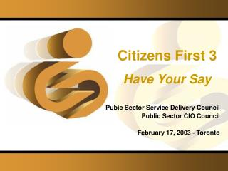 Citizens First 3 Have Your Say