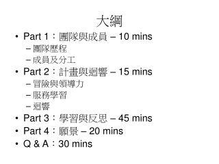 Part 1 :團隊與成員  – 10 mins 團隊歷程 成員及分工 Part 2 :計畫與迴響  – 15 mins 冒險與領導力 服務學習 迴響