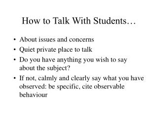 How to Talk With Students