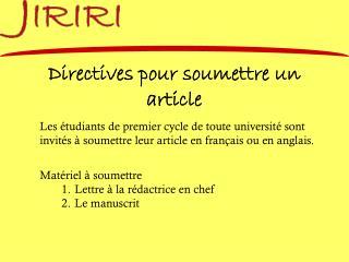 Directives pour soumettre un article