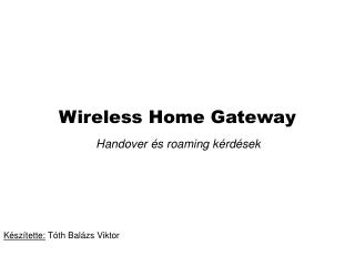 Wireless Home Gateway