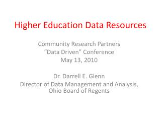 Higher Education Data Resources