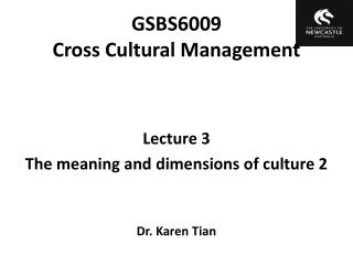 GSBS6009  Cross Cultural Management