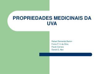 PROPRIEDADES MEDICINAIS DA UVA