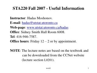 STA220 Fall 2007 - Useful Information