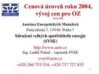 Cenová úroveň roku 2004, vývoj cen pro OZ 03.11.2004