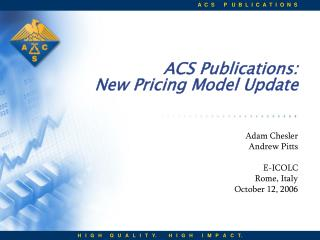 ACS Publications: New Pricing Model Update
