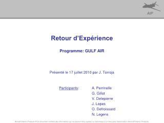 Retour d'Expérience Programme: GULF AIR