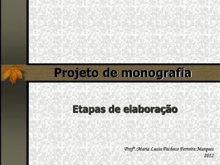 Projeto de monografia