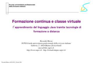 Formazione continua e classe virtuale
