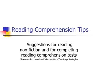 Reading Comprehension Tips